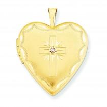 Diamond Set Cross Heart Locket in 14k Yellow Gold