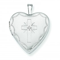 Diamond Set Cross Heart Locket in 14k White Gold