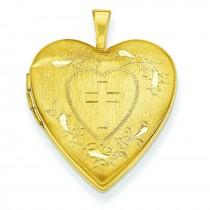 Cross Diamond Cut Heart Locket in 14k Yellow Gold