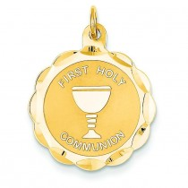 First Holy Communion Disc in 14k Yellow Gold