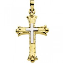 Budded Cross in 14k Two-tone Gold