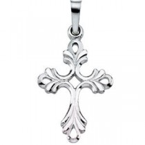 Fancy Cross in 14k White Gold