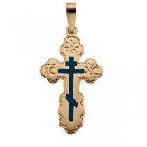 Black Inlay Orthodox Cross in 14k Yellow Gold
