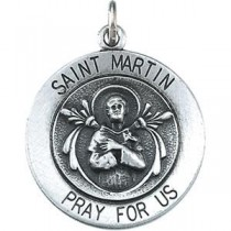 St Martin Medal 18 Inch Chain in Sterling Silver