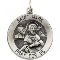 St Mark Medal 18 Inch Chain in Sterling Silver