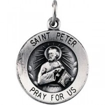 St Peter Medal 18 Inch Chain in Sterling Silver
