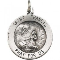 St Francis Medal 18 Inch Chain in Sterling Silver