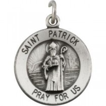 St Patrick Medal 18 Inch Chain in Sterling Silver