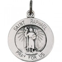 St Raphael Medal 18 Inch Chain in Sterling Silver