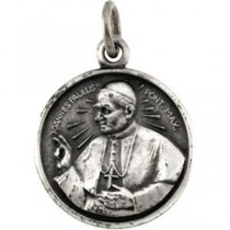 Pope John Paul Medal 18 Inch Chain in Sterling Silver
