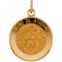 Nino De Atocha Medal in 14k Yellow Gold