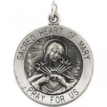 Sacred Heart Of Mary 18 Inch Chain in Sterling Silver