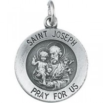 St Joseph Medal 18 Inch Chain in Sterling Silver