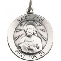 St Paul Medal 18 Inch Chain in Sterling Silver