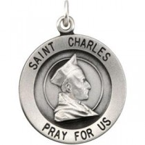 St Charles Medal 18 Inch Chain in Sterling Silver