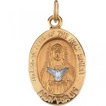 Mary Of Holy Spirit Medal in 14k Two-tone Gold