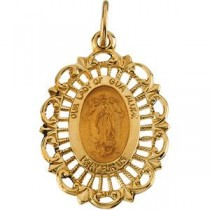 Lady Of Guadalupe Medal in 14k Yellow Gold