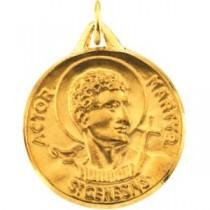 St Genesius Medal in 14k Yellow Gold
