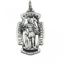 St Florian Medal 24 Inch Chain in Sterling Silver