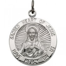 Sacred Heart Of Jesus Medal 24 Inch Chain in Sterling Silver