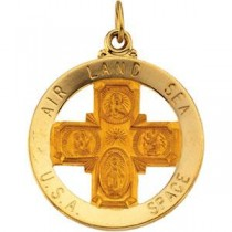 Four Way Air Land Sea Medal in 14k Yellow Gold