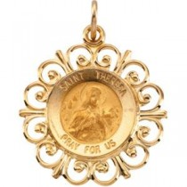 St Theresa Medal in 14k Yellow Gold