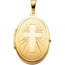 Communion Cross Locket in 14k Yellow Gold