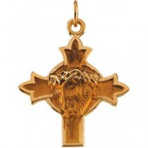 Head Of Jesus Crown Cross in 14k Yellow Gold