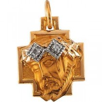 Head Of Jesus Crown Cross in 14k Yellow Gold