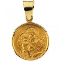 St Joseph Medal in 18k Yellow Gold