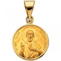 Sacred Heart Medal in 18k Yellow Gold