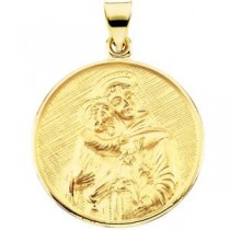 St Anthony Medal in 18k Yellow Gold