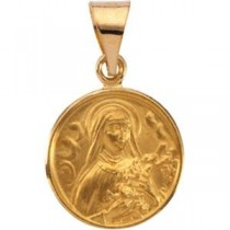 St Theresa Medal in 18k Yellow Gold