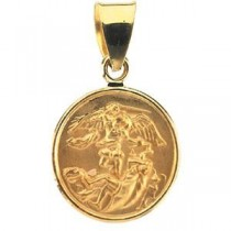 St Michael Medal in 18k Yellow Gold