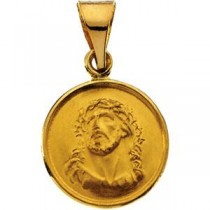 Face Of Jesus Pendant in 18k Yellow Gold