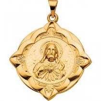 Sacred Heart Medal in 14k Yellow Gold