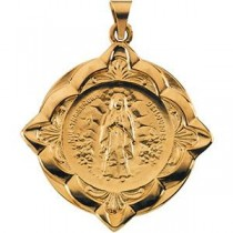 Lady Of Lourdes Medal in 14k Yellow Gold