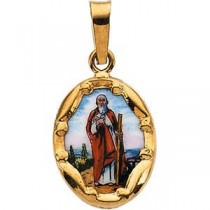 St Jude Medal in 14k Yellow Gold