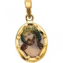 Porcelain Ecce Homo Pendant in 14k Yellow Gold