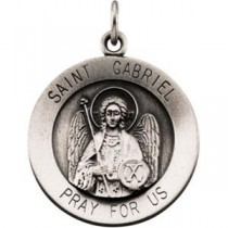 St Gabriel Medal 18 Inch Chain in Sterling Silver