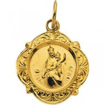 Scapular Medal in 14k Yellow Gold