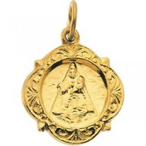 Caridad Del Cobre Medal in 14k Yellow Gold