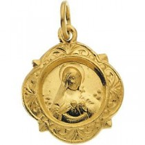 Immaculate Heart Of Mary Medal in 14k Yellow Gold