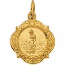 St Lazarus Medal in 14k Yellow Gold