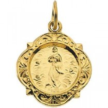 Lady Of Assumption Medal in 14k Yellow Gold