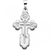 Orthodox Cross in 14k White Gold