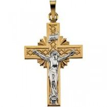 Celtic Crucifix in 14k Two-tone Gold