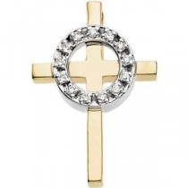 0.13 Ct. Diamond Celtic Cross in 14k Two-tone Gold