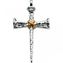 Passion Cross in 14k Yellow Gold & Sterling Silver