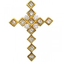 0.797 Ct. Diamond Passion Cross in 14k Yellow Gold (0.66 Ct. tw.)